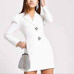 River Island White Diamanté Tux Blazer Dress NWT